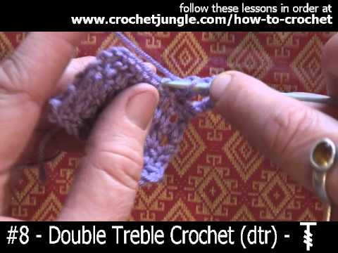 Crochet Stitches Tutorial Youtube : How to do a double treble crochet stitch (dtr) - tutorial #8 - YouTube