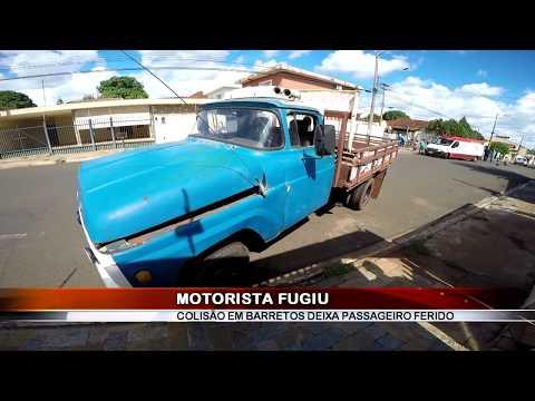 21/11/2018 - Colisão entre caminhão e carro no centro de Barretos deixa passageiro que foi ejetado do caminhão gravemente ferido