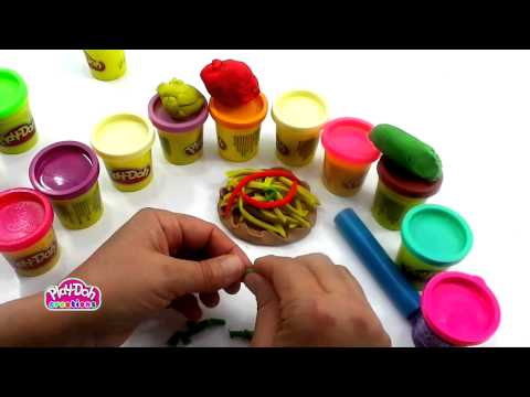 How to make a funny Pizza with Play doh game toys 720p