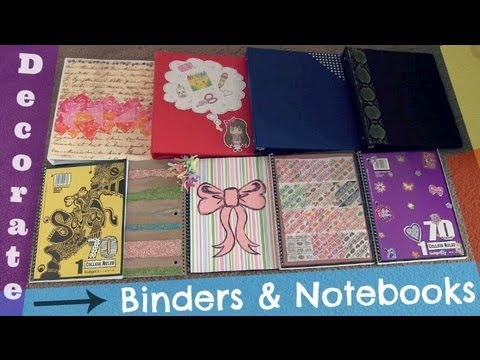 Decorate binders notebooks back to school diy youtube for Back to school notebook decoration ideas