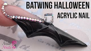 Bat Wing Shaped Acrylic Nail with Bling - Halloween Nail Design