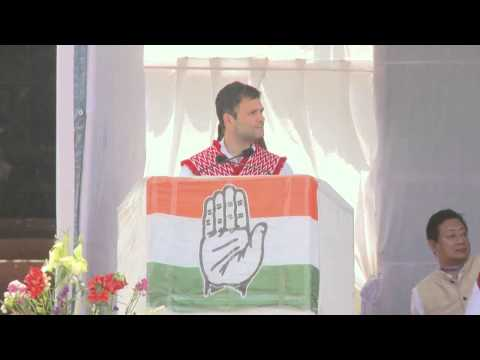 Rahul Gandhi Addressing a Public Meeting at Kohima, Nagaland on March 27, 2014