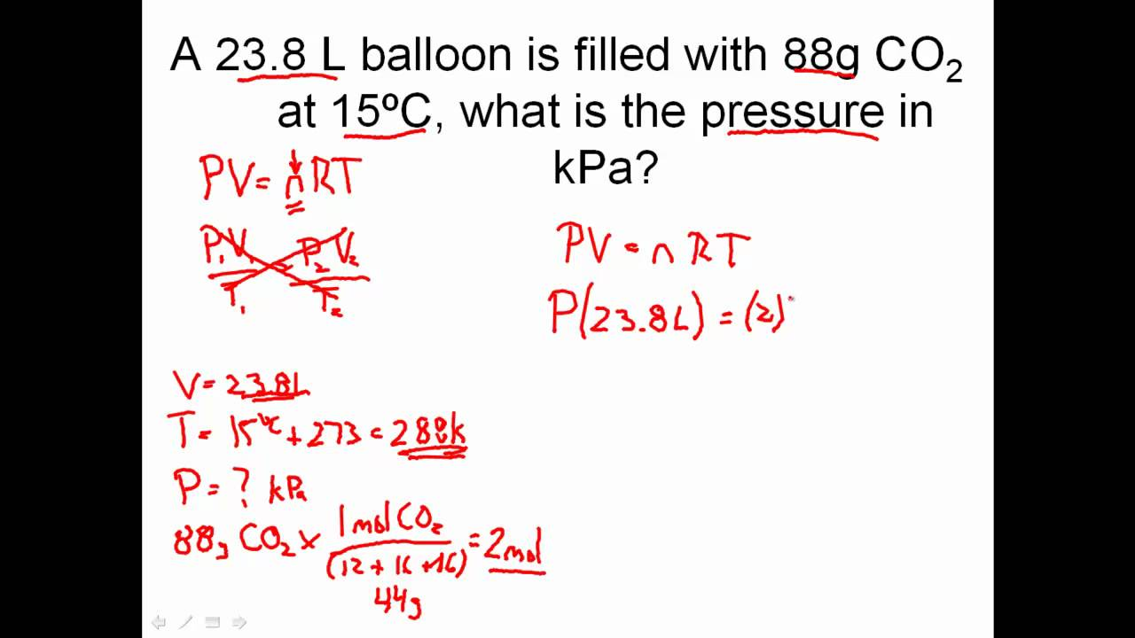 Ideal Gas Law Practice Problems