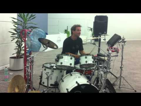 Oded Kafri playing in the foyer of London Drum Show - 2012.mov