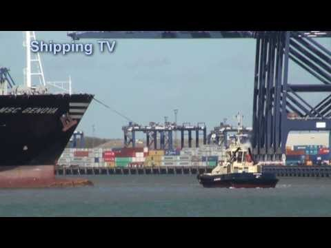 MSC Carouge, MSC Genova inbound at Felixstowe, 14th March 2014