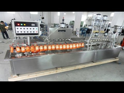 Juice spout filling machine automatic linear filler equipment stand up bags drink packaging machine