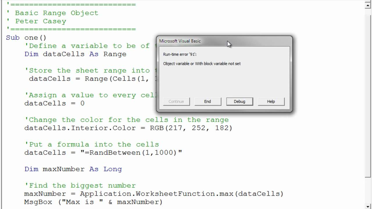 using a range variable in excel vba