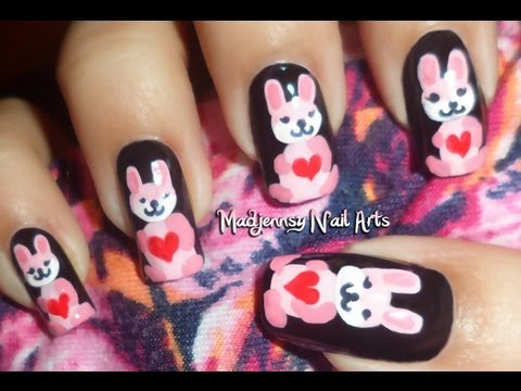 Cute Pink Bunny Nails collaboration with Honey Bee / Diseño de conejitas