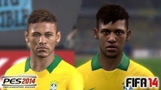 PES 2014 Vs FIFA 14 Face Comparison BRASIL (National Team