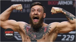 Conor McGregor vs Khabib Nurmagomedov weigh-in: Conor kicks out, Drake rocks Irish flag   UFC 229