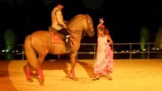 Baile Por Sevillanas (Mujer Y Caballo Cartujano En Isla
