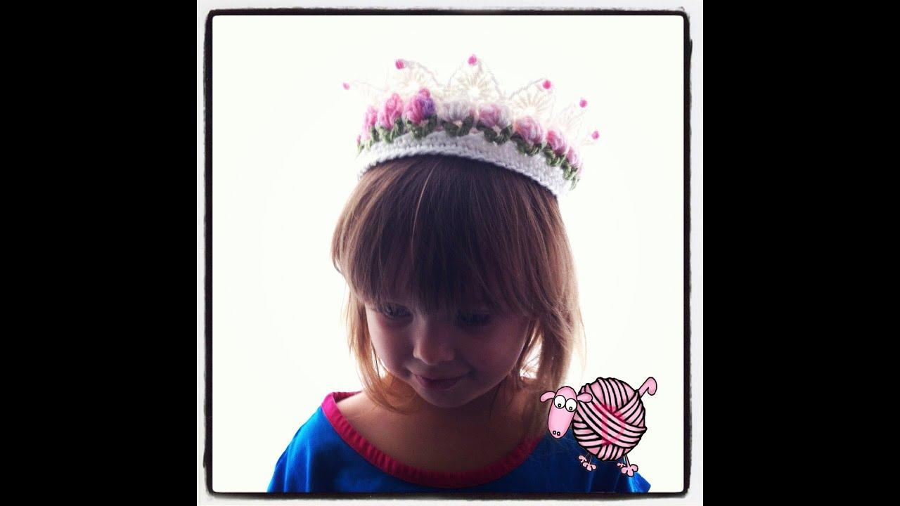 Crochet Flower Crown Tutorial : Crochet Flower Girl Crown Tutorial - YouTube