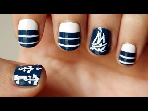 Nautical Sailboat Nail Art