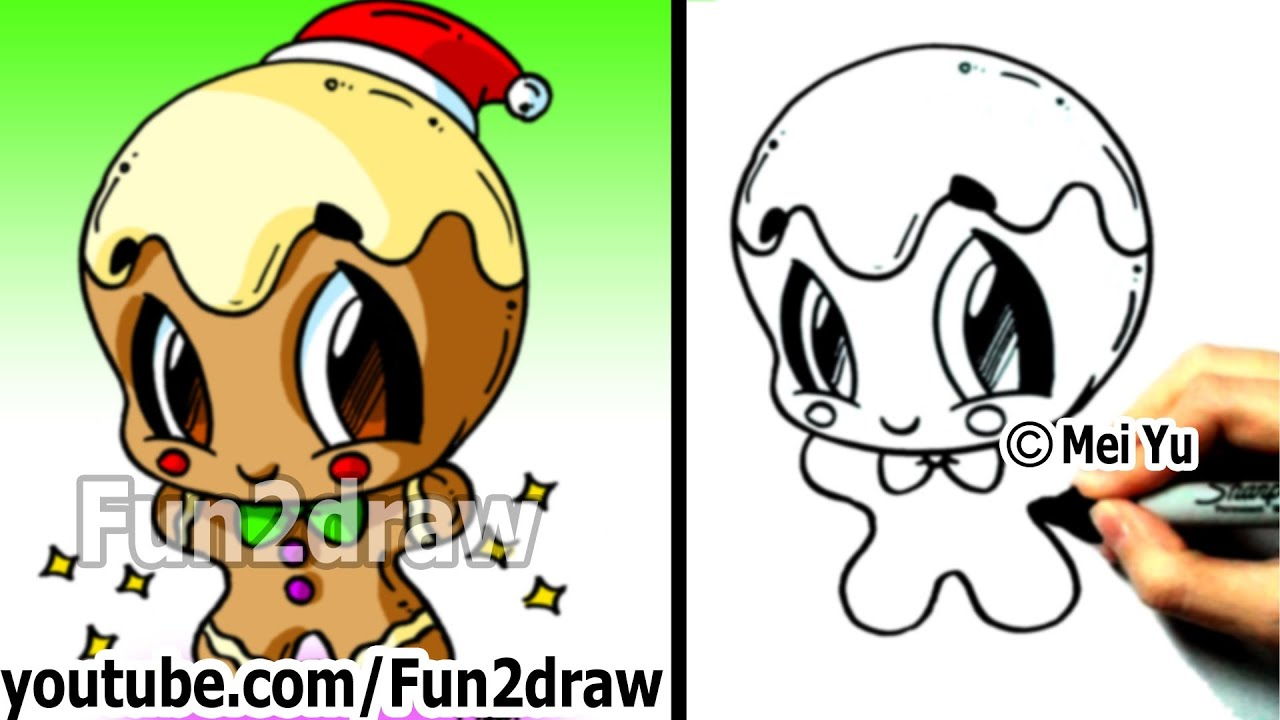 How to Draw Christmas Pictures - How to Draw a Gingerbread Man - Cute ...