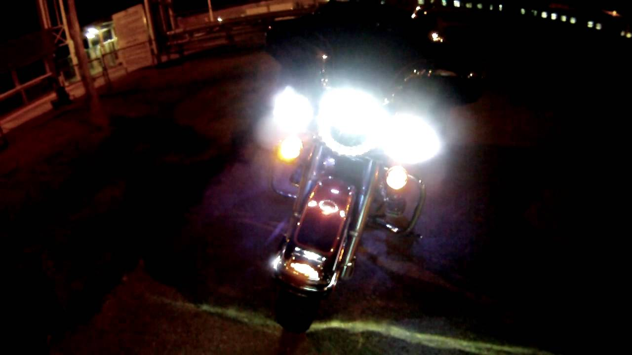 harley davidson kuryakyn led night riding lights youtube. Black Bedroom Furniture Sets. Home Design Ideas