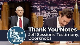 Thank You Notes: Jeff Sessions' Testimony, Doorknobs
