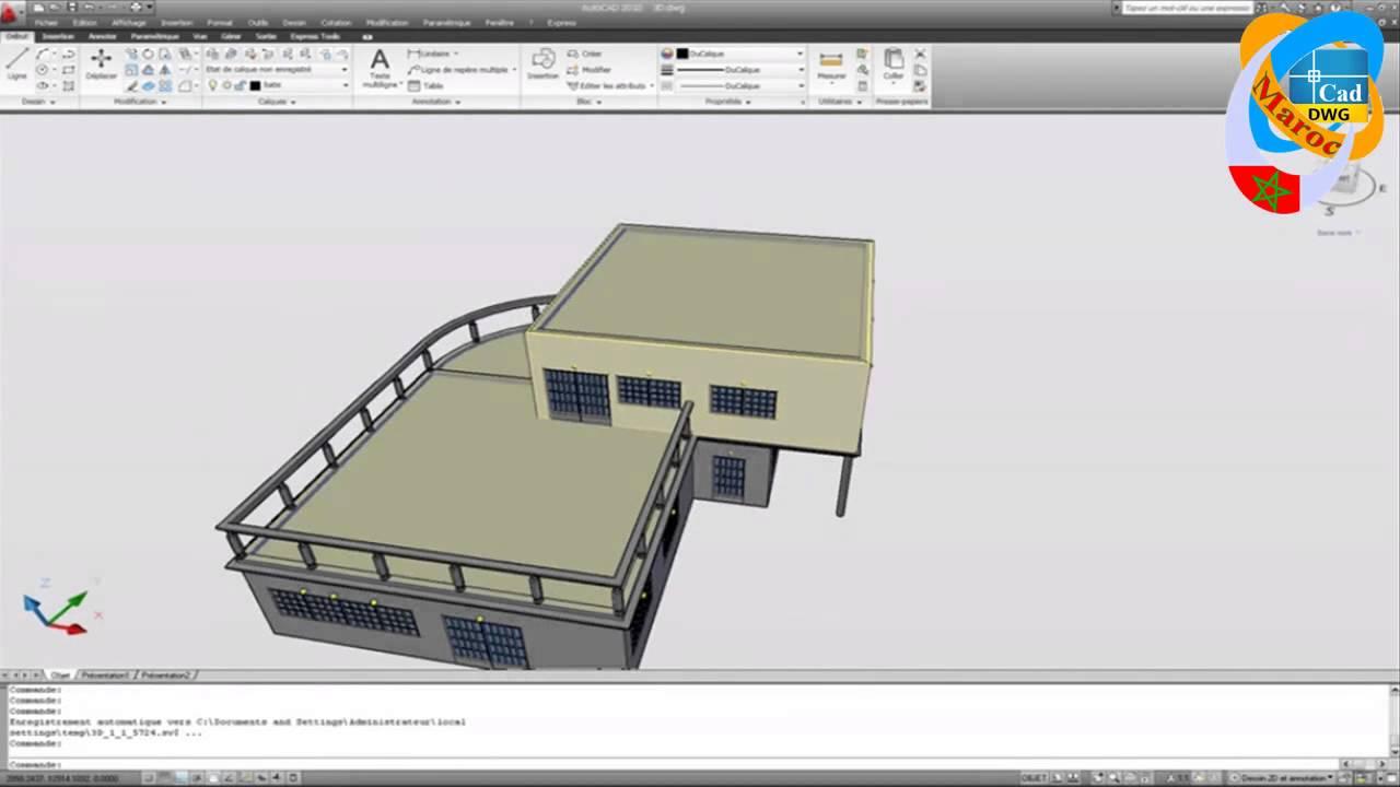 Dessiner un plan de maison avec autocad hd youtube for Dessiner un plan en 3d