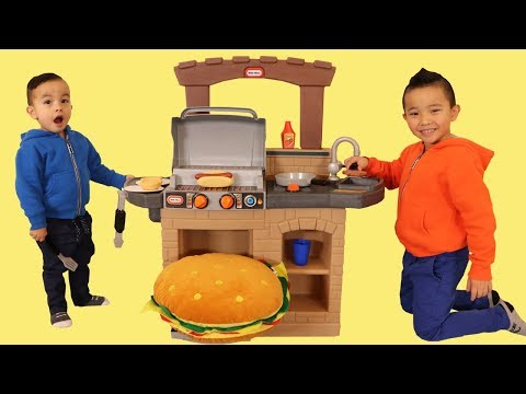 Kids Pretend Play Cooking A Giant Burger BBQ Playset Fun With CKN Toys