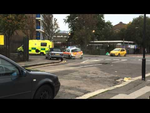 Hình ảnh trong video London Ambulance Crashes onto a Police Car At