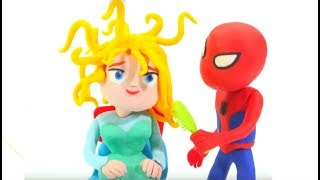 Spiderman Brushes Frozen Elsa Hair - Play Doh Cartoons & Superhero Babies Stop Motion Movies