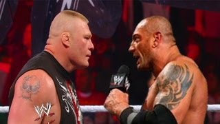 WWE RAW 4/22/13 Batista Returns And Confronts Brock Lesnar