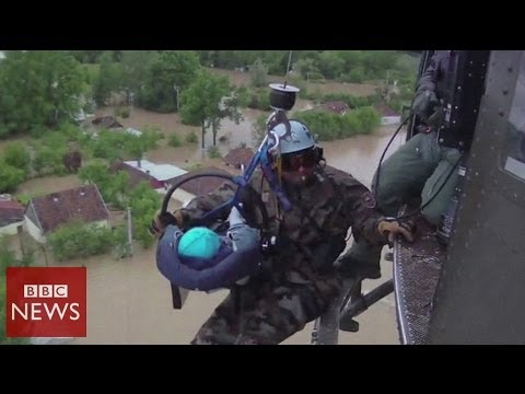 Baby rescued in Bosnia from Balkan floods