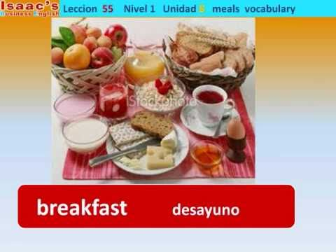Curso de Ingles gratis  55. nivel 1  meals vocabulary