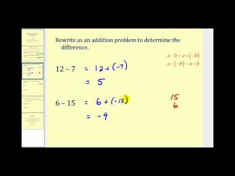 Subtracting Integers - The Basics