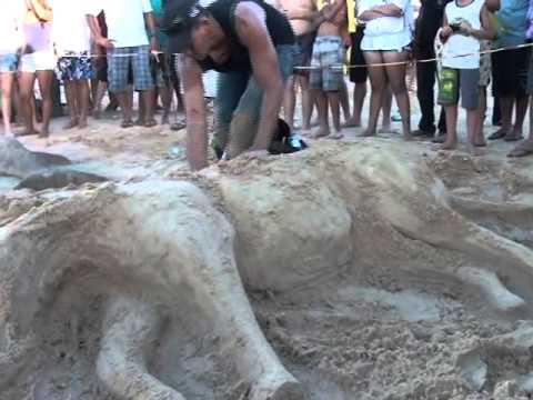 Esculturas são expostas no 1º festival de escultura na areia em São Felix