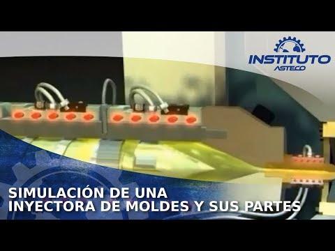 Simulación de una Inyectora de moldes y sus partes.