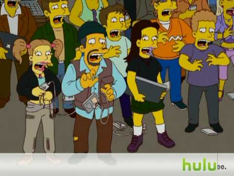 The Simpsons - Steve Mobs      - YouTube  , Steve Mobs, CEO of Mapple, makes a live announcement with Bart's help. S20:Ep7.