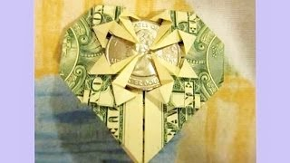 How To Fold HEART From $1 & Quarter, MONEY ORIGAMI DOLLAR