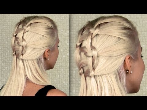 Double knotted braid Everyday half updo and ponytail hairstyle for long hair tutorial