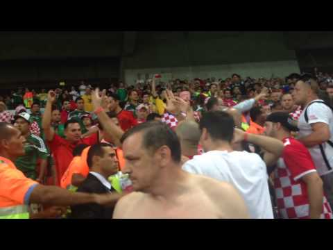 Crazy fight at 2014 World Cup in Recife, Brazil btwn Croati