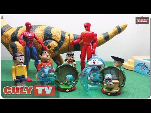 siêu nhân gao người nhện đánh khủng long đẻ trứng và bóc trứng bất ngờ đẹp - đồ chơi doremon chế hài
