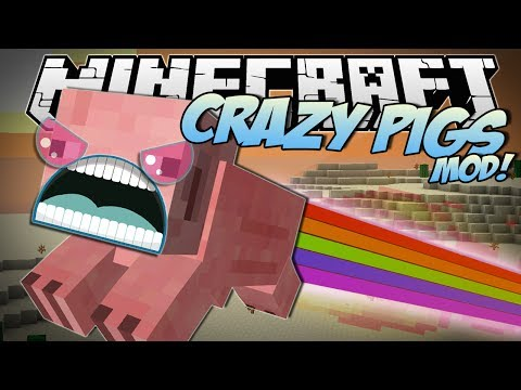 Minecraft | CRAZY PIGS MOD! (Rainbow Pigs, Superpowers, Trail Mix & More!) | Mod Showcase