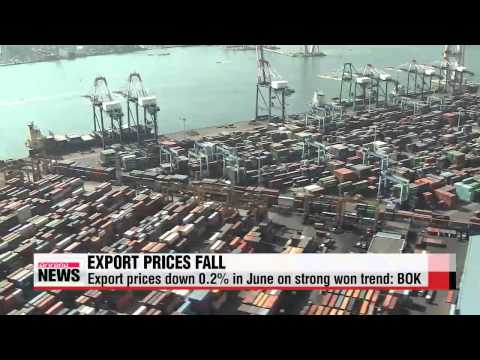 Korea's export prices fall in June on strong won trend