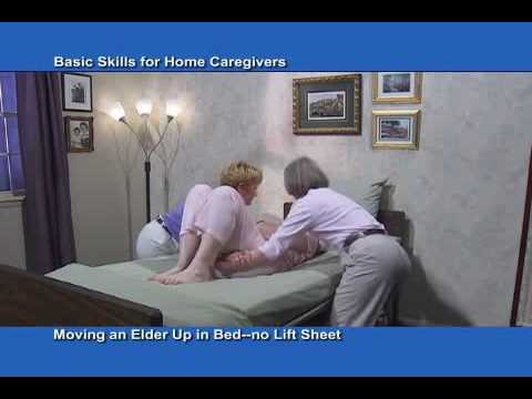 Moving a person up in bed without a lift sheet