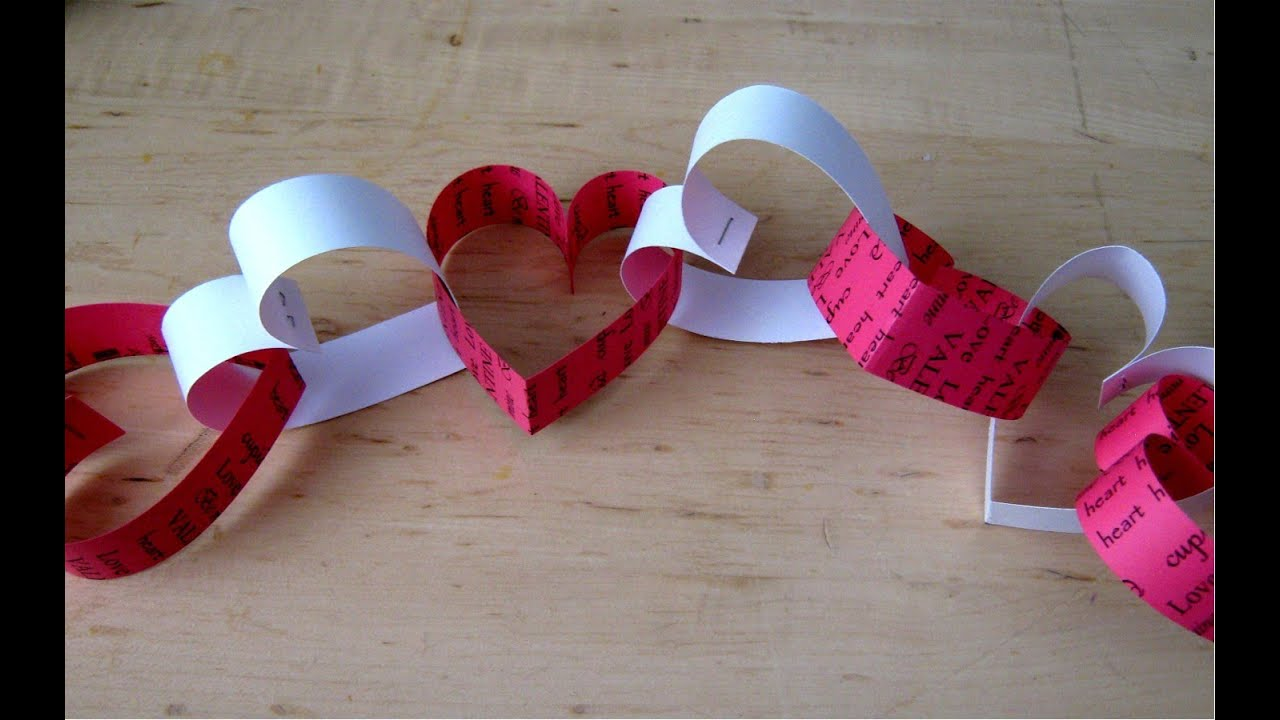 Valentines day paper heart chain decoration youtube for Heart decoration ideas