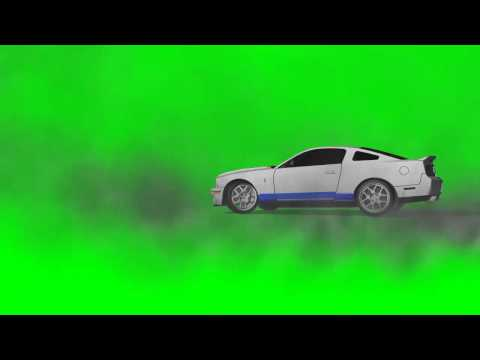 Car drive makes burnout and drift in circle - green screen effects
