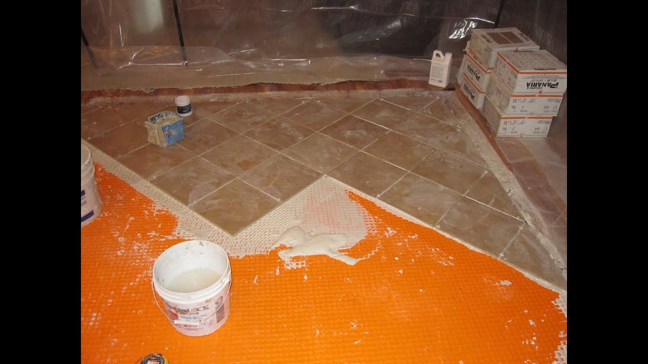 Install Bathroom Floor Underlayment : How to install schluter ditra on plywood
