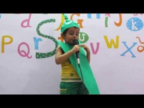 Srishti enacts as ladyfinger in fancy dress