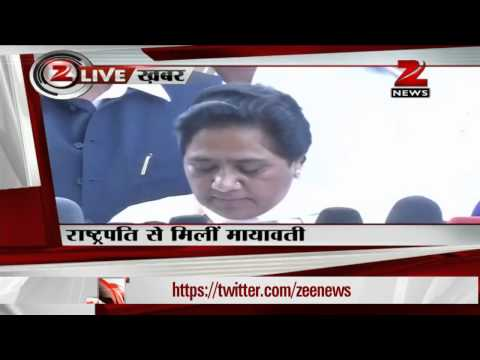 Mayawati meets Pranab Mukherjee,demands President's rule in UP