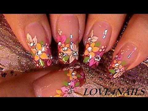 Bouquet Of Fall Flowers Nail Art Design Tutorial