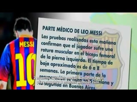 Injured Messi out for 2 months (English Sub)