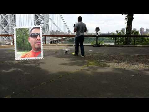#drone flying over George Washington Bridge New York City
