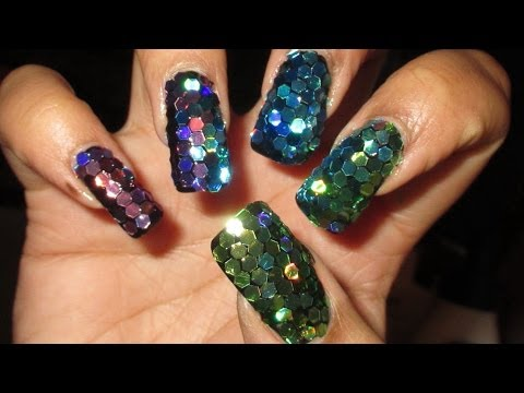 Super Blingy Ombre Glitter Mosaic New Year's Nail Art Tutorial,