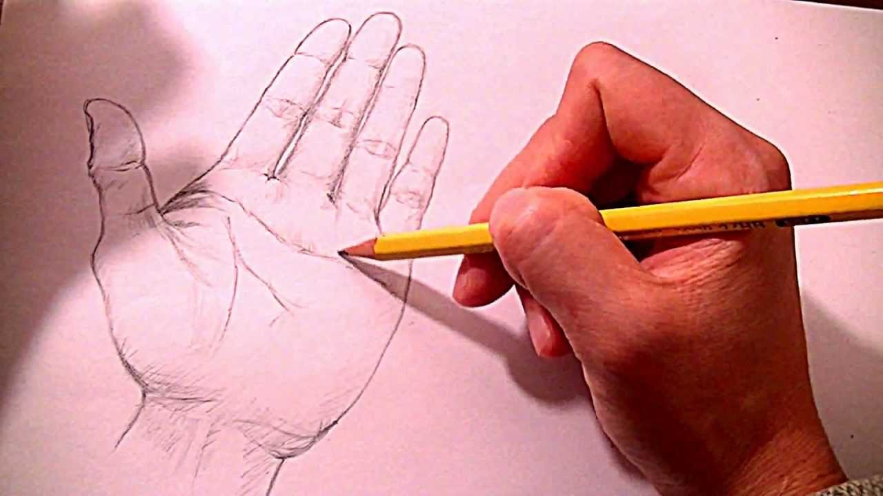 how to draw two open hands