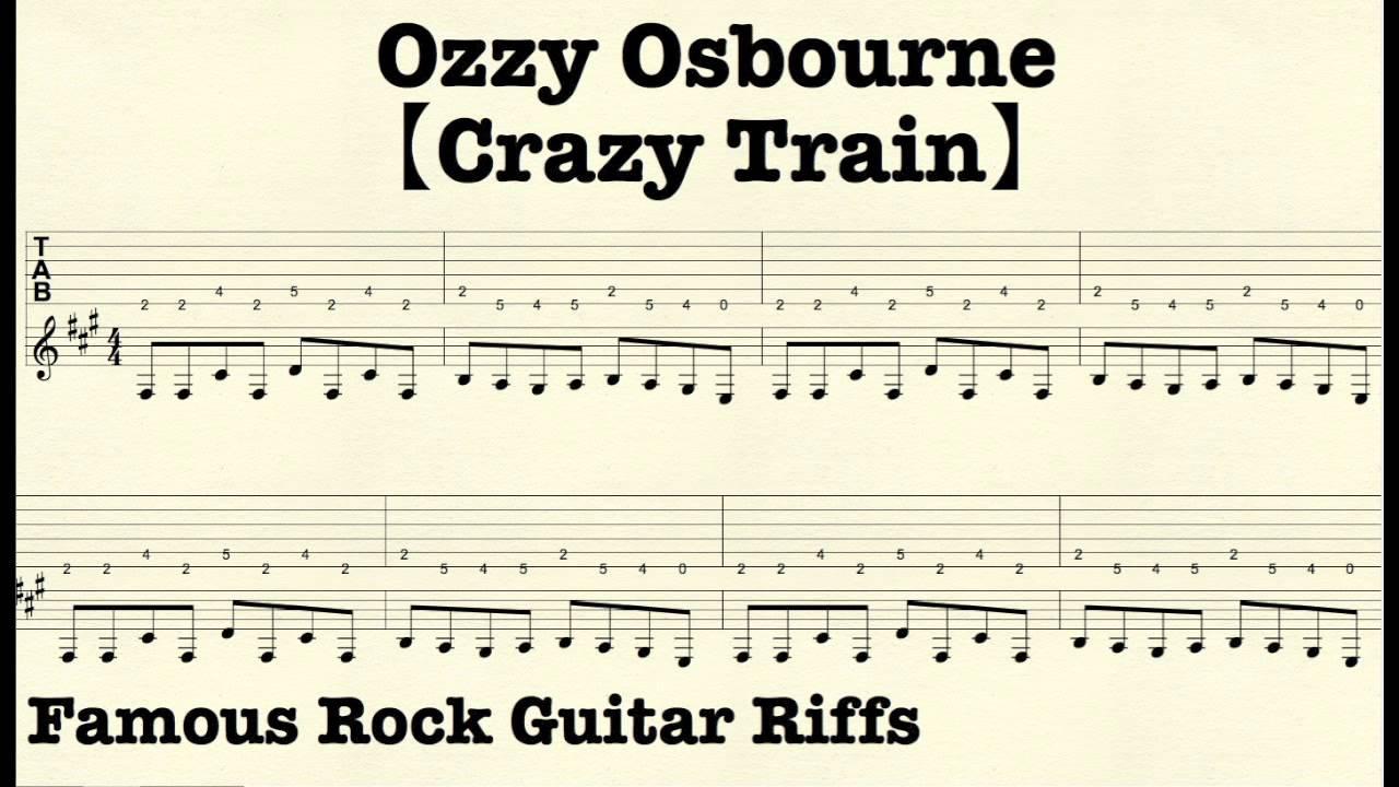 Famous Rock Guitar Riffs with TABsu3010Crazy Trainu3011OzzyOsbourne - YouTube