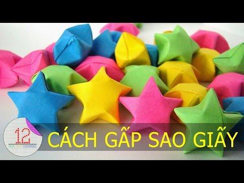 Hướng dẫn cách gấp ngôi sao giấy đơn giản | 12 Hoa Tay Channel |